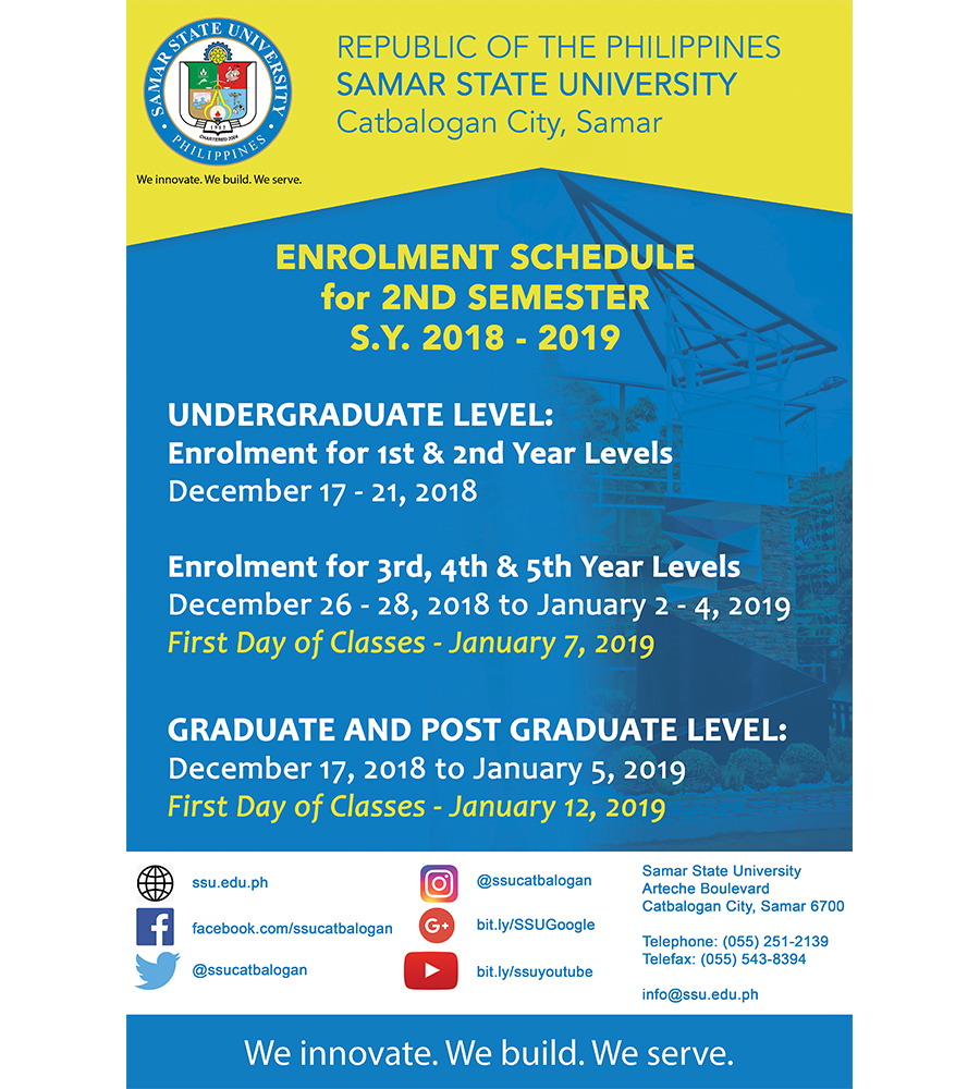 SSU Enrolment Schedule 2018 - 2019